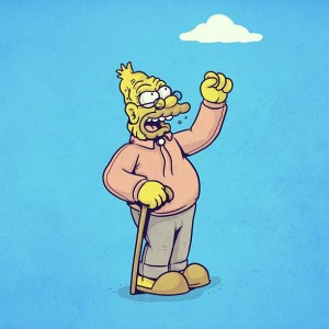 grandpa simpson happy